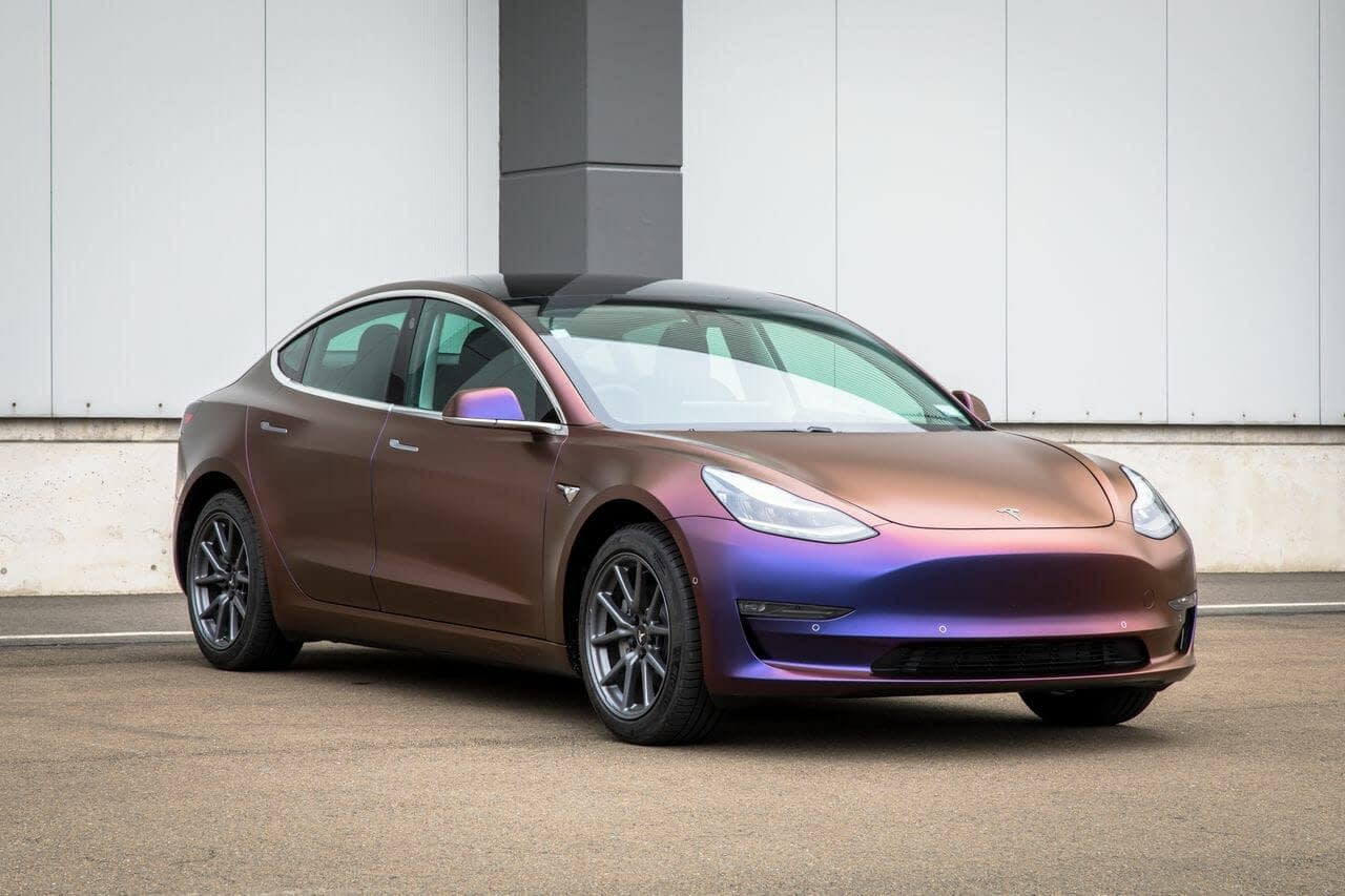 After Tesla Model 3 Satin Roaring Thunder Car Wrap Wellington 15 - Wrap Innovations - Car Wrap, Blackout, Window Tinting Specialist Wellington